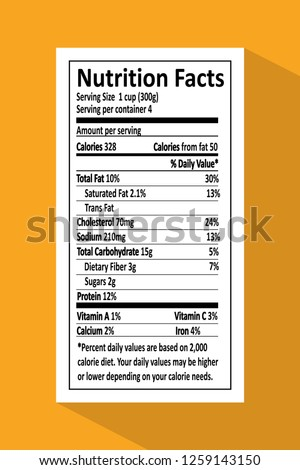 Nutrition facts given on piece of paper, information with percentage about fats, cholesterol and sodium, carbohydrates and protein vector illustration.