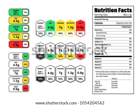 Nutrition Facts information label for box. Daily value ingredient calories, cholesterol and fats in grams and percent. Flat design, vector illustration on background