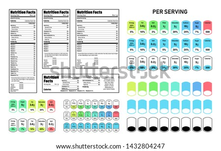 Nutrition Facts information label for box set. Daily value ingredient calories, cholesterol and fats in grams and percent. Flat design, vector illustration.