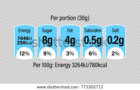 Nutrition Facts Information Label For Cereal Box Package. Vector Daily  Value Ingredient Amounts Guideline Design  Ingredients Label Template