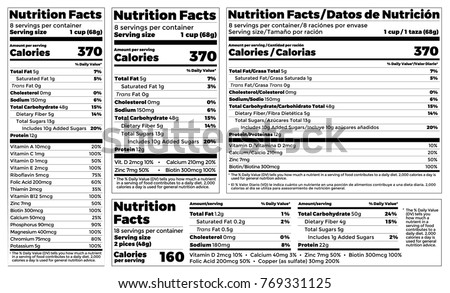 Nutrition Facts Label design template for food content. Vector serving, fats and diet calories list for fitness healthy dietary supplement, protein sport nutrition facts American standard guideline #769331125