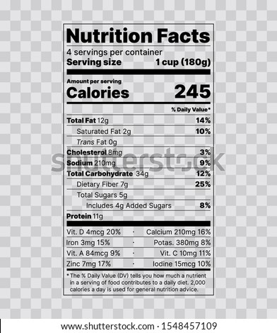 Nutrition facts label. Food information with daily value. Vector. Data table ingredients calorie, fat, sugar, cholesterol. Vertical Display with Micronutrients Listed Side-by-Side. Packaging template.