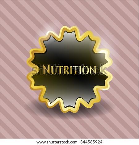 Nutrition gold badge or emblem