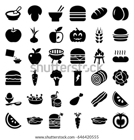 Nutrition icons set. set of 36 nutrition filled icons such as wheat, egg, mushroom, hay, onion, carrot, cabbage, apple, cauliflower, bread, porridge, burger, asian food