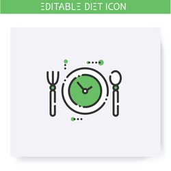 Nutrition regime line icon. Meals by hour. Diet. Weight loss. Portion control. Healthy eating. Dietary nutrition. Calorie count. Slimming concept. Isolated vector illustration. Editable stroke