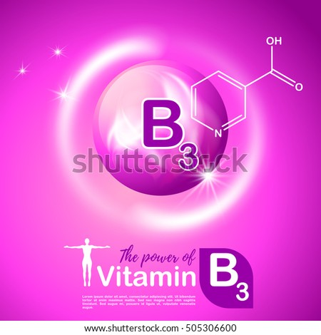 Nutrition sign vector concept. The power of vitamin B3. Chemical formula