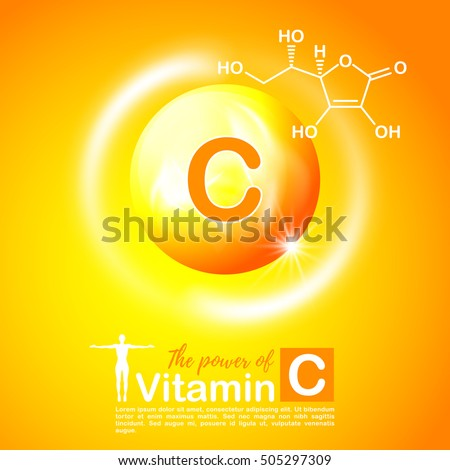 Nutrition sign vector concept. The power of vitamin C. Chemical formula