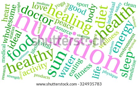 Nutrition word cloud on a white background.