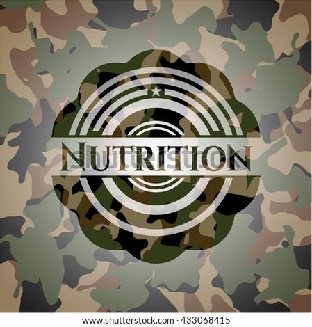 Nutrition written on a camo texture