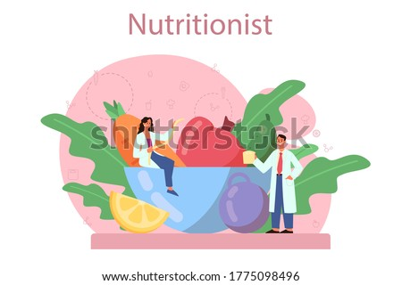 Nutritionist concept. Diet plan with healthy food and physical activity. Calorie control and diet concept. Vector illustration in cartoon style