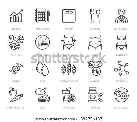 Nutritionist flat line icons set. Diet food, nutritions - protein, fat, carbohydrate, fit body vector illustrations. Outline pictogram for overweight treatment. Pixel perfect. Editable Strokes.