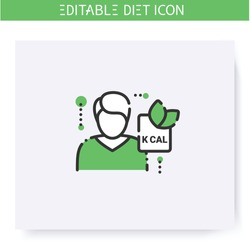 Nutritionist line icon.Doctor, nutrition consultant.Healthy eating. Dietary nutrition.Diet. Weight loss. Portion control. Calorie count.Slimming concept. Isolated vector illustration.Editable stroke