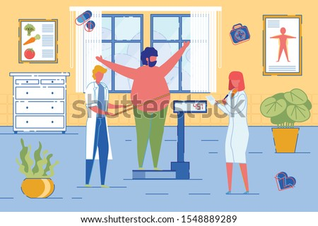 Nutritionists or Dietician Counselor Doctors Weigh on Scales Overweight Patient Man. Weight Loss with Medicine Specialists Professional Support. Detox or Weight Watch Clinic. Flat Vector Illustration.