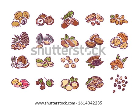 Nuts and seeds color line icons set. Nuts are the hard-shelled fruit of certain plants. Seeds are a small edible plant enclosed in a seed coat. Pictograms for web page, mobile app. Editable stroke.