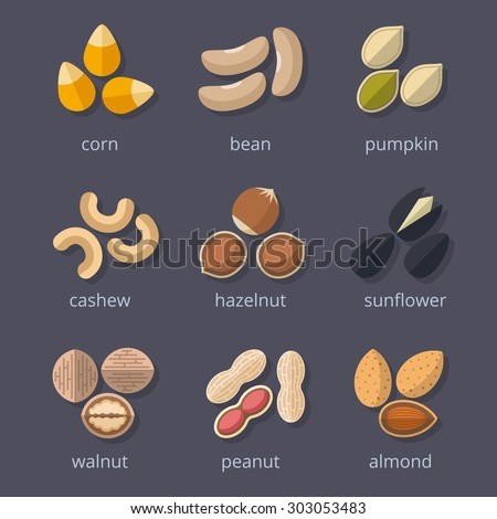 nuts and seeds icon set almond