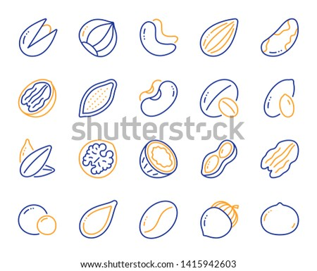 Nuts and seeds line icons. Hazelnut, Almond nut and Peanut. Sunflower and pumpkin seeds, Brazil nut, Pistachio icons. Walnut, Coconut and Cashew nuts. Pecan, peas, macadamia. Vector
