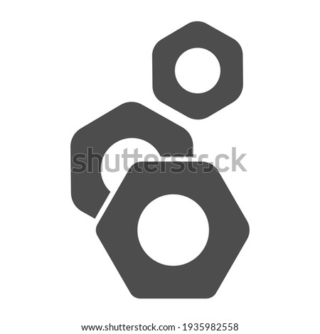 Nuts for screws solid icon, Car parts concept, screw-nut sign on white background, Nut icon in glyph style for mobile concept and web design. Vector graphics. Foto stock ©