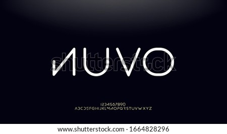 Nuvo, modern minimalist elegant alphabet. futuristic upper case sans serif font. vector design