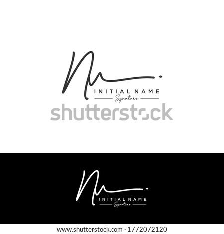 NV Initial letter handwriting and signature logo. Imagine de stoc ©