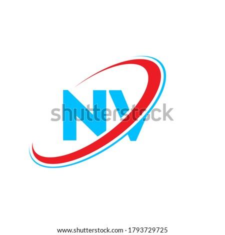 NV N V letter logo design. Initial letter NV linked circle uppercase monogram logo red and blue. NV logo, N V design. nv, n v Imagine de stoc ©