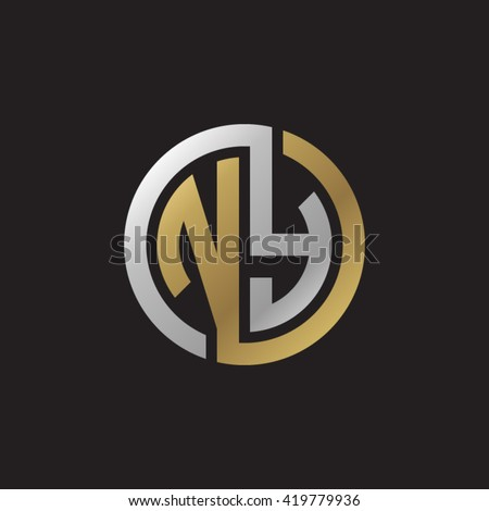 NY initial letters looping linked circle elegant logo golden silver black background Stok fotoğraf ©