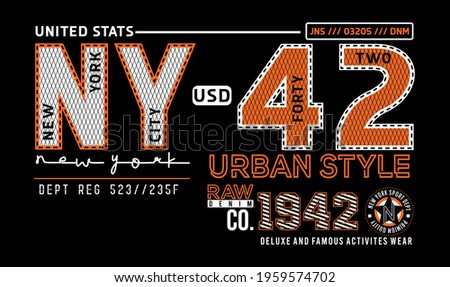 NY new york city 42 raw denim co usd urban style deluxe and famous activities wear premium quality jns dnm vector illustration Photo stock ©