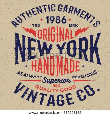 ny vintage tee print design