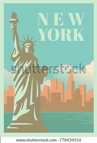 NYC and Statue of Liberty with skyscrapers. Vector