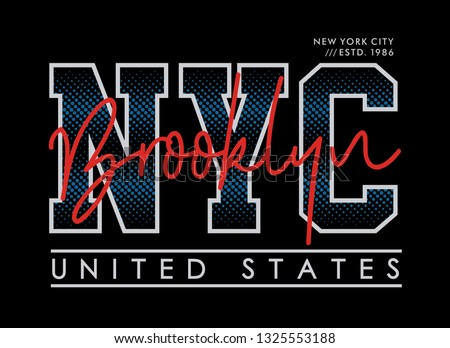 NYC Brooklyn United States typography design with a background of black color. Vector image illustrator