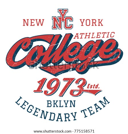NYC Legendary College Team - Tee Design For Print