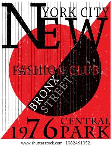 NYC, NEW YORK, Stock Vector Illustration T-Shirt Design, Print Design
