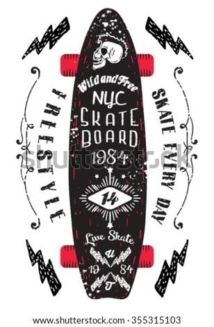 nyc skateboard vintage style