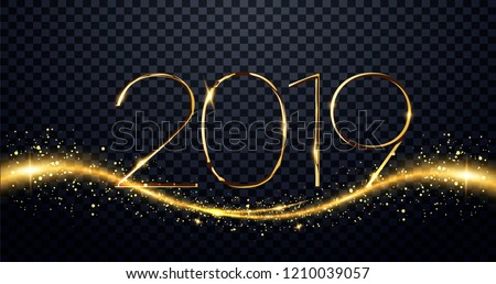 NYE (New Year Eve) 2019. Happy New Year 2019 winter holiday greeting card design template. Party poster, banner or invitation gold glittering stars confetti glitter decoration. vector illustration