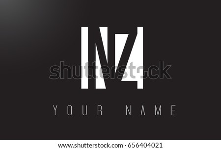 NZ Letter Logo With Black and White Letters Negative Space Design.