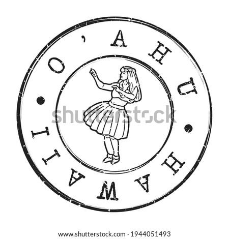 O'ahu, Hawaii, USA Stamp Postal. Silhouette Seal. Passport Round Design. Vector Icon. Design Retro Travel. Hula Dancer National Symbol. Stok fotoğraf ©