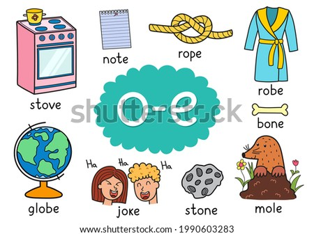 O-e digraph spelling rule educational poster for kids with words. Learning phonics for school and preschool. Phonetic worksheet. Vector illustration Foto stock ©