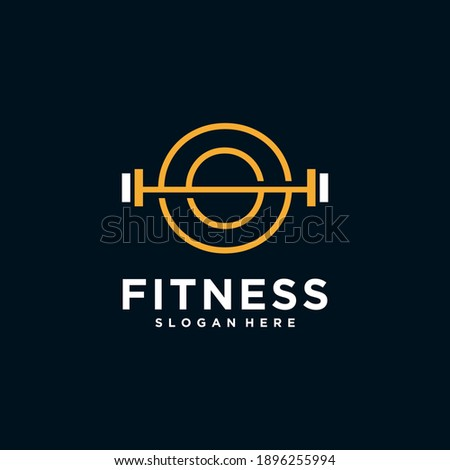 O fitness logo logo with Kettlebell fitness vector icon design and Barbell Fitness Gym Logo Design. Foto stock ©