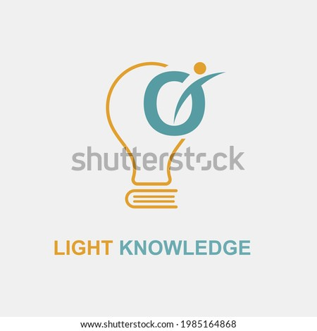 O Initial Letter Simple Modern Education Academy Logo template with Lamp Bulb and Book Icon. Smart, knowledge and science business logo concept Foto stock ©