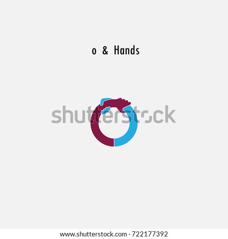 o- Letter abstract icon & hands logo design vector template.Business offer,partnership symbol.Hope,help concept.Support,teamwork sign.Corporate business & education logotype symbol.Vector illustration