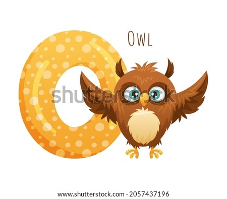 O letter and cute owlet baby animal. Zoo alphabet for children education, home or kindergarten decor cartoon vector illustration Foto stock ©