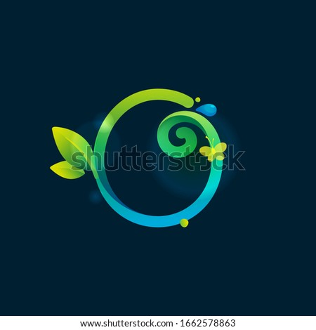 o letter eco logo with green