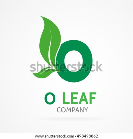 O letter logo with green leaves.Vector design template elements for your eco application or corporate identity.