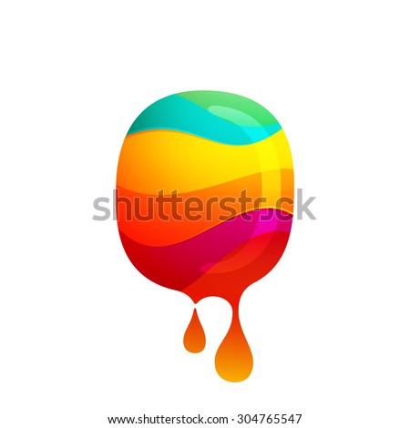 o letter logo with juice splash
