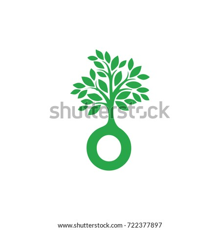o letter tree green eco logo vector template