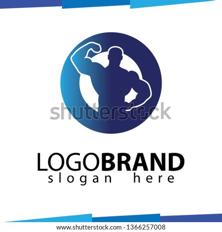 O Letter with Muscular Fitness vector template Foto stock ©