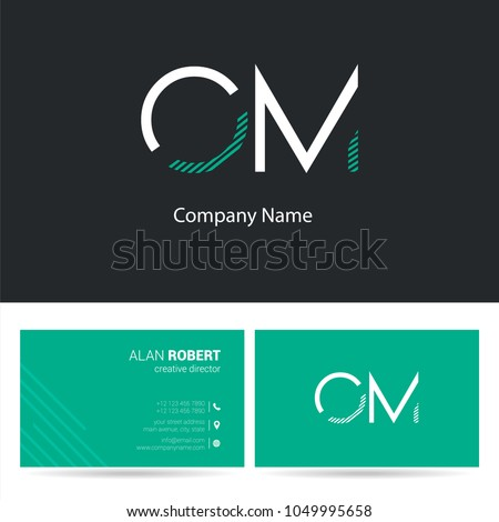 O & M joint logo stroke letter design with business card template Foto stock ©