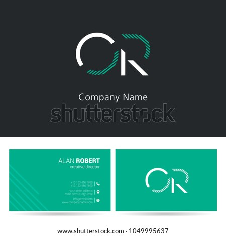 O & R joint logo stroke letter design with business card template Foto stock ©