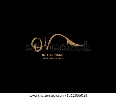 O V Initial Handwriting Logo Template