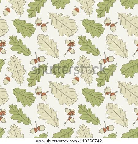 oak hand drawn seamless background