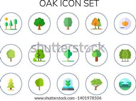 oak icon set 15 flat oak icons